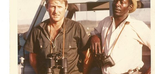 The famous safari guide Joseph Rotich (Bwana Chui to his friends) and Jock. Joseph was one of Jock's most talented guides. He always found the leopard!